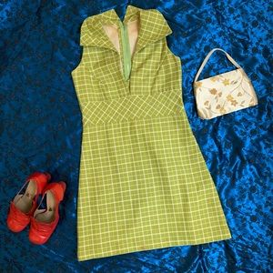 Vintage 70s Mod Checkered Mini Dress